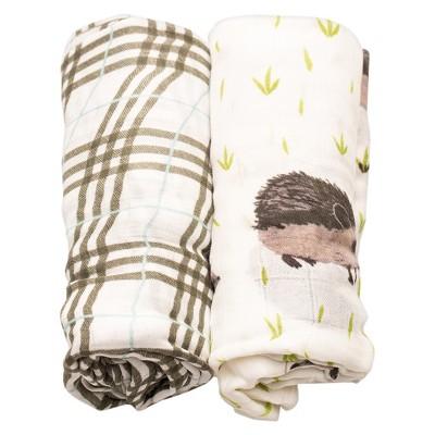 Little Unicorn Deluxe Cotton Muslin Blanket 2pk - Hedgehog
