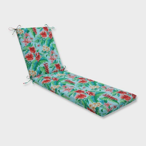 "80"" x 23"" x 3"" Tropical Paradise Chaise Lounge Outdoor Cushion Blue - Pillow Perfect - image 1 of 2"