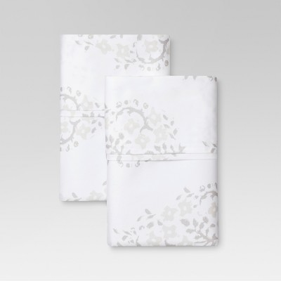 Performance Printed Pillowcase (Standard)White Block Print 400 Thread Count - Threshold™