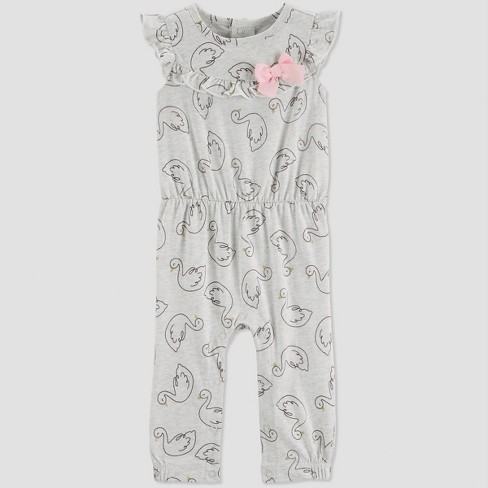 Baby Girls' Swan Jumpsuit - Just One You® made by carter's Gray - image 1 of 1