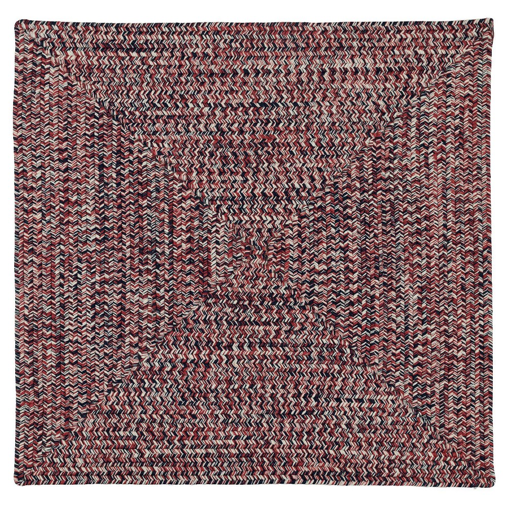 Forest Tweed Braided Square Area Rug Red