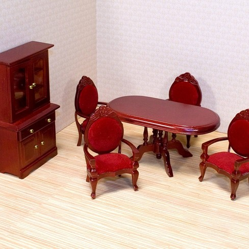Melissa Doug Classic Wooden Dollhouse Dining Room Furniture 6pc Table Armchairs Hutch Target
