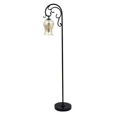 J. Hunt Textured Bronze Floor Lamp With Mercury Glass Shade by J. Hunt