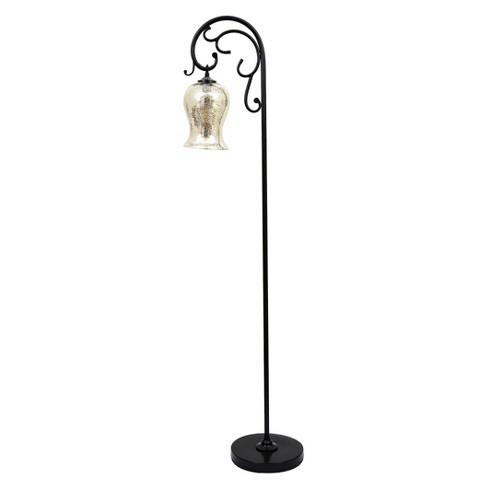 J. Hunt Textured Bronze Floor Lamp with Mercury Glass Shade - image 1 of 4