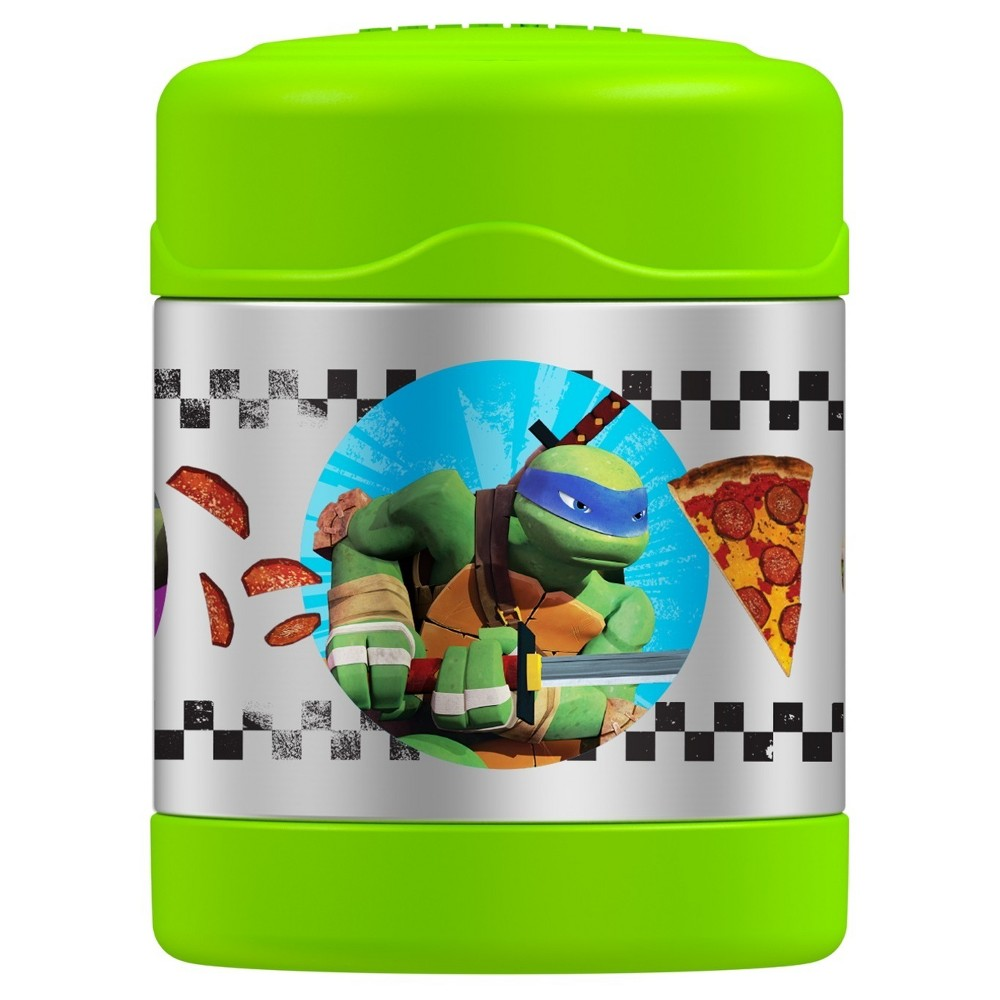 Thermos FUNtainer Teenage Mutant Ninja Turtles Stainless Steel Food Jar - Green (10oz), Green Black The Thermos Teenage Mutant Ninja Turtles Insulated Food Jar 10oz is a perfect choice for kids' lunches. Featuring Thermos vacuum insulation and durable stainless steel, this food jar will keep food hot for 5 hours or cold for 7. It has a 10oz capacity and an extra wide mouth that makes it easy to fill, eat from and clean. Not to mention the fact that it features their favorite heroes, the Teenage Mutant Ninja Turtles. 5 year limited manufacturer warranty. Color: Green Black. Pattern: Superheroes.