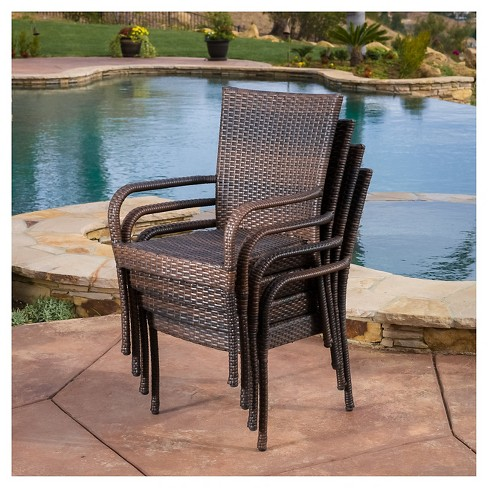 Littleton 4pk All Weather Wicker Stackable Chair Brown Christopher Knight Home Target