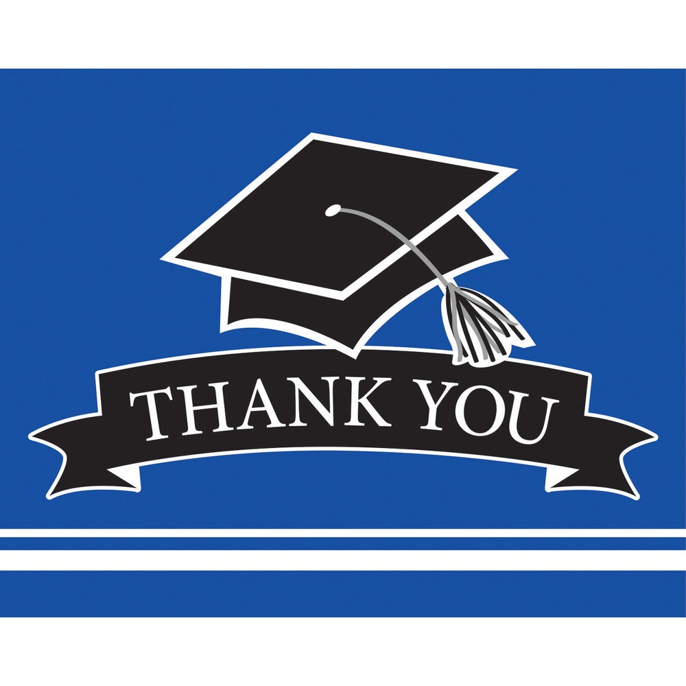 Image of 25ct Blue Graduation School Thank You Notes