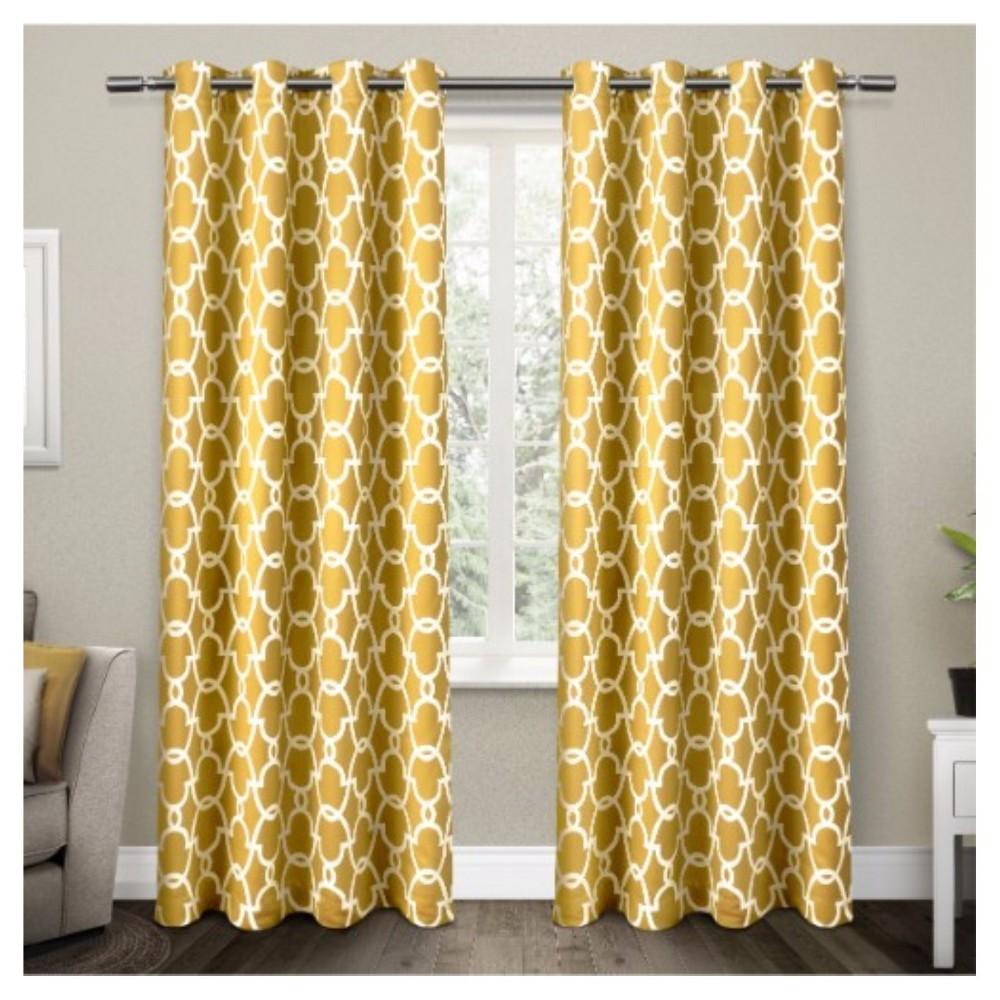 Gates Sateen Woven Room Darkening Grommet Top Window Curtain Panel Pair Yellow (52x108) - Exclusive Home