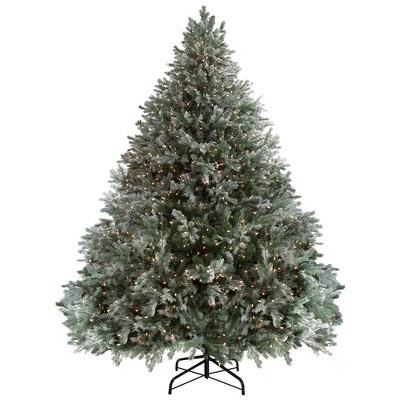 Northlight 9' Pre-Lit Artificial Christmas Tree Flocked Jasper Balsam Fir - Clear Lights