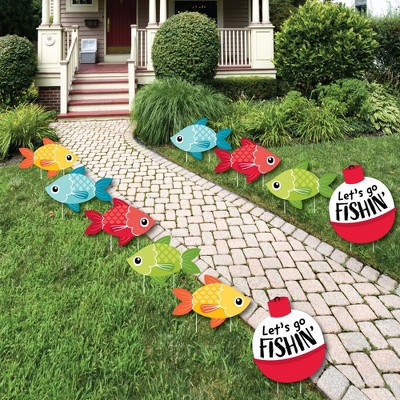 Big Dot of Happiness Let's Go Fishing - Bobber Lawn Decorations - Outdoor Fish Themed Birthday Party or Baby Shower Yard Decorations - 10 Piece