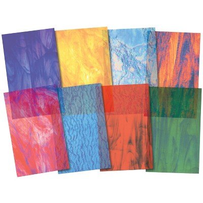 Roylco Stained Glass Craft Paper, 5-1/2 x 8-1/2 Inches, Assorted Colors, pk of 24