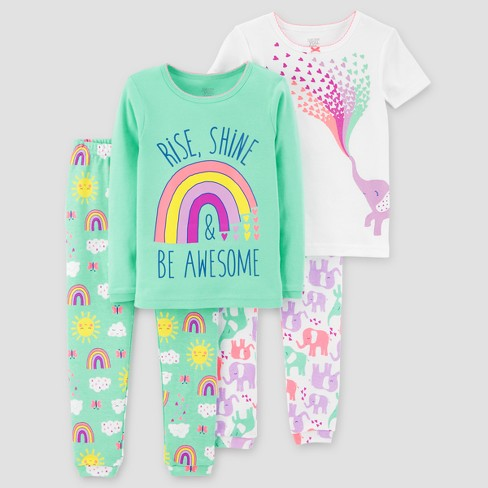 Baby Girls' 4pc Rainbow Elephants Pajama Set Just One You™ Made by Carter's® Teal - image 1 of 1