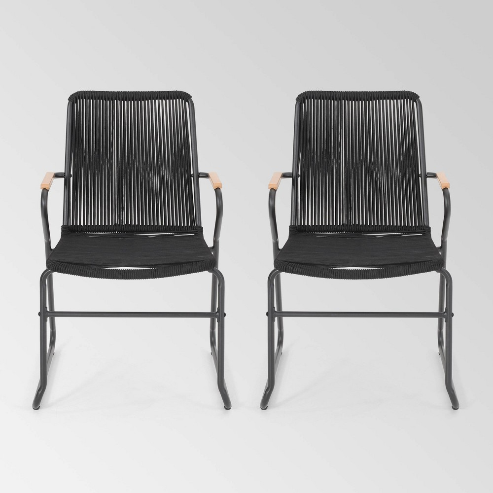 Moonstone Set Of 2 Rope Weave Modern Club Chairs Black Christopher Knight Home