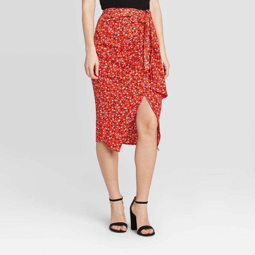 Women's Floral Print Faux Tie Slip Asymmetrical Midi Skirt - Who What Wear Red 16 was $29.99 now $20.99 (30.0% off)