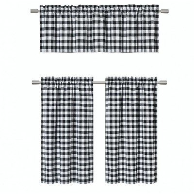 GoodGram Black Gingham Checkered Plaid Kitchen Curtain Tier & Valance Set - 58 in. W x 36 in. L
