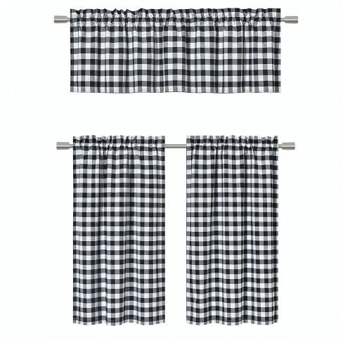 GoodGram Black Gingham Checkered Plaid Kitchen Curtain Tier & Valance Set - 58 in. W x 36 in. L - image 1 of 2