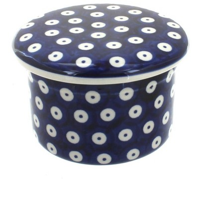 Blue Rose Polish Pottery Dots French Butter Dish