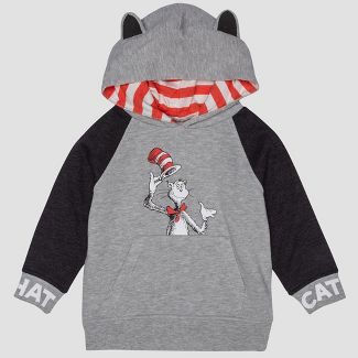 Toddler Boys' Dr. Seuss Cat in the Hat Hooded Sweatshirt - Gray 5T