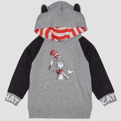 48c33417b Toddler Boys  Dr. Seuss Cat In The Hat Hooded Sweatshirt - Gray   Target