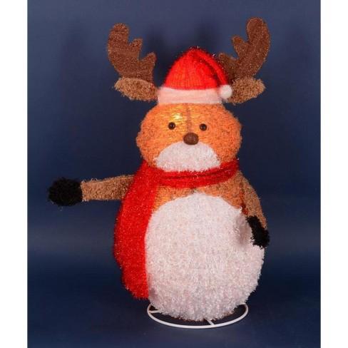 Penn 24 Lighted 3 D Chenille Reindeer With Santa Hat Outdoor Christmas Yard Art Decoration