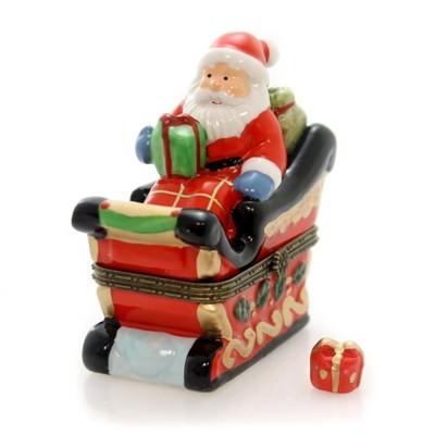 "Hinged Trinket Box 3.25"" Santa On A Sleigh Christmas Gifts  -  Decorative Figurines"