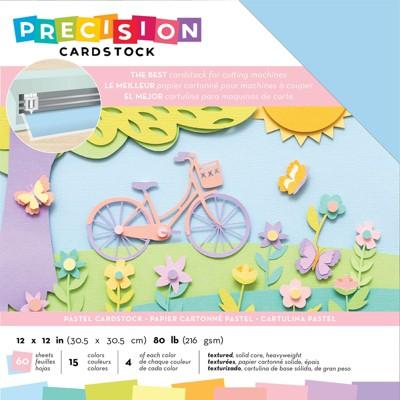 "American Crafts Precision Cardstock Pack 80lb 12""X12"" 60/Pkg-Pastel/Textured"