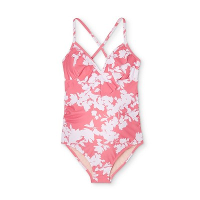 Maternity Floral Print Flounce Neck One Piece Swimsuit - Isabel Maternity by Ingrid & Isabel™ Pink/White