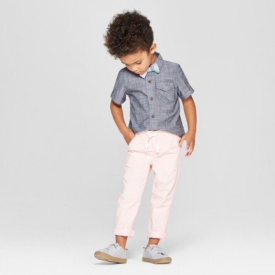 Toddler Boys' 3pc Chambray Shirt, Bowtie, and Chinos Set - Cat & Jack™ Gray/Light Pink 12M