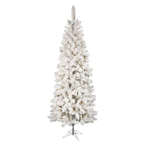 7 5ft Pre Lit Slim Led Artificial Christmas Tree White Flocked Pacific White Lights