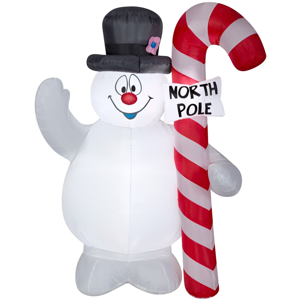 Warner Bros. Holiday Inflatable Decoration Frosty the Snowman Hugging North Pole Sign, Multi-Colored