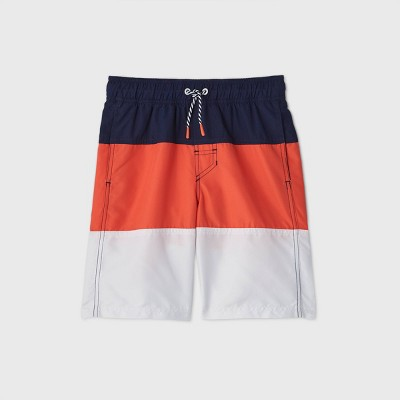 Boys' Colorblock Swim Trunks - Cat & Jack™ Navy/Orange