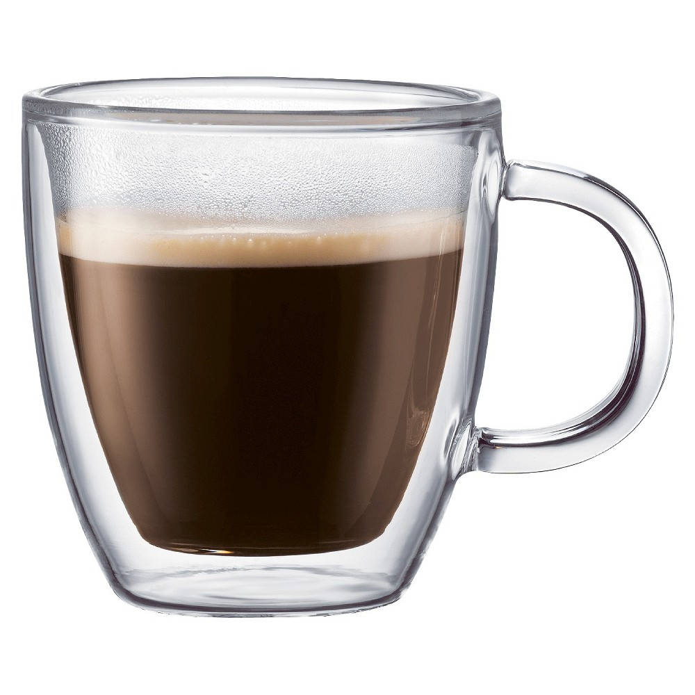 Image of Bodum Bistro 2pk 10oz Double Wall Glass Mugs, Clear