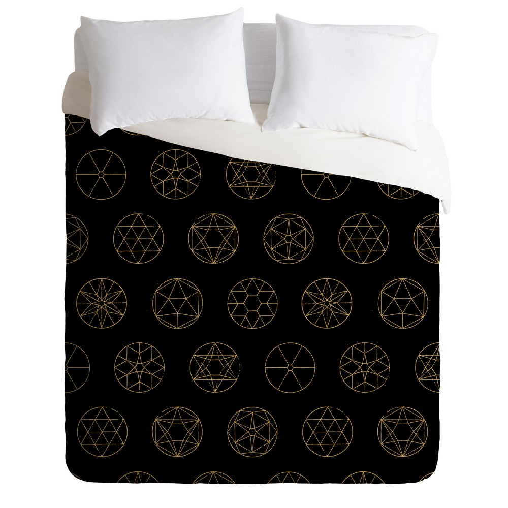 Black Florent Bodart Geocircles Golden Duvet Cover Twin Deny Designs