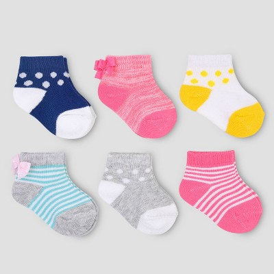 Baby Girls' 6pk Bow Ankle Socks - Just One You® made by carter's Pink/Mint 0-3M