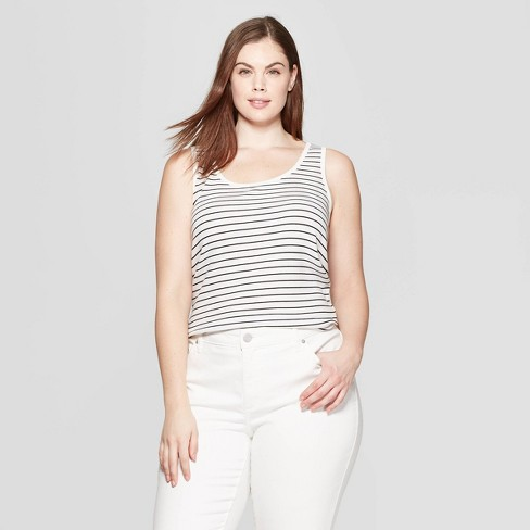 4f03d6a0fbdbb Women s Plus Size Striped Sleeveless Scoop Neck Rib Racerback Tank Top -  Universal Thread™ White Black