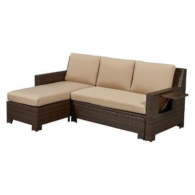 Waikiki Outdoor Convertible Sofa Khaki   Relax A Lounger