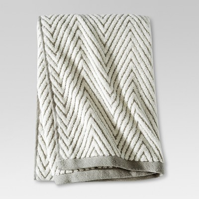 Chevron Textured Bath Towel Cream/Gray - Threshold™