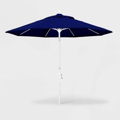 9' Sun Master Patio Umbrella Collar Tilt Crank Lift - Sunbrella True Blue - California Umbrella