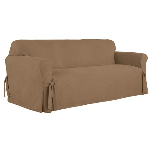 Relaxed Fit Smooth Sued Sofa Slipcover Serta