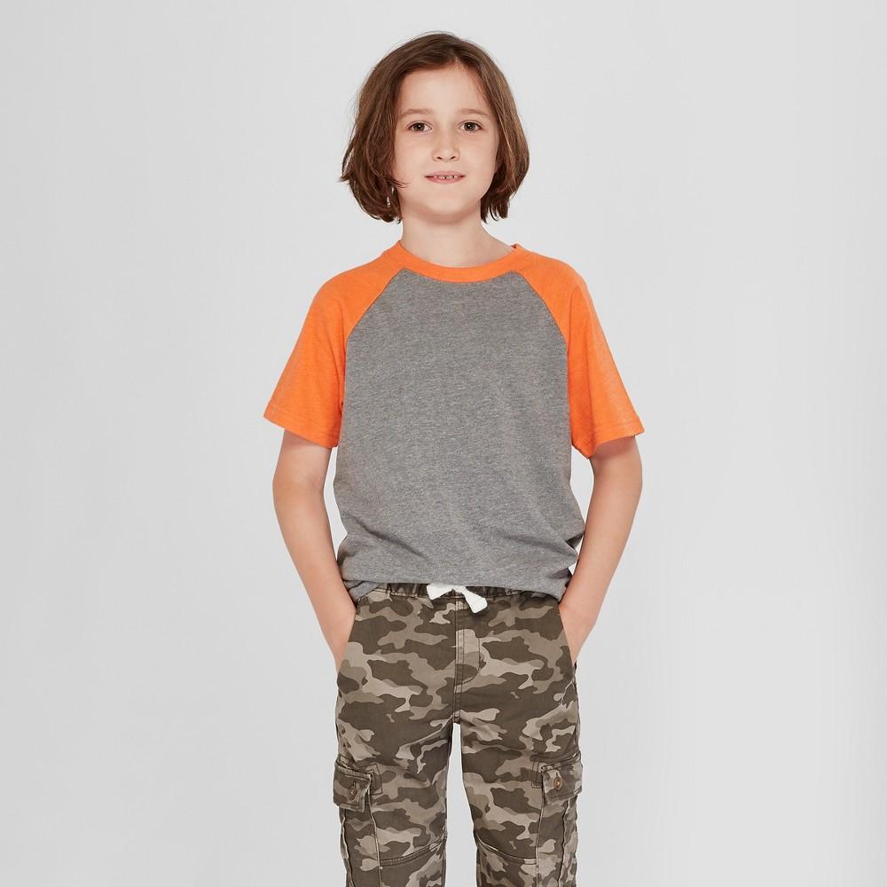 Boys' Short Sleeve T-Shirt - Cat & Jack Orange/Gray XL