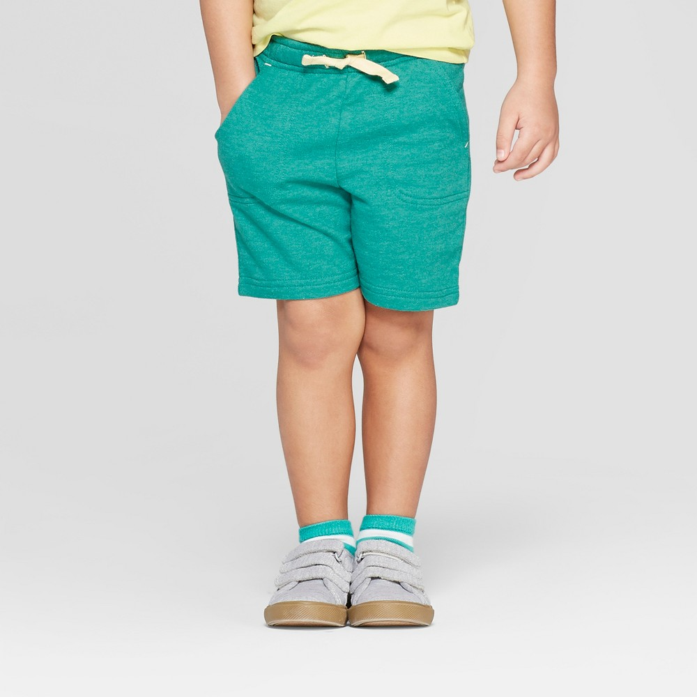 Toddler Boys' Knit Pull-On Shorts - Cat & Jack Teal 5T, Green