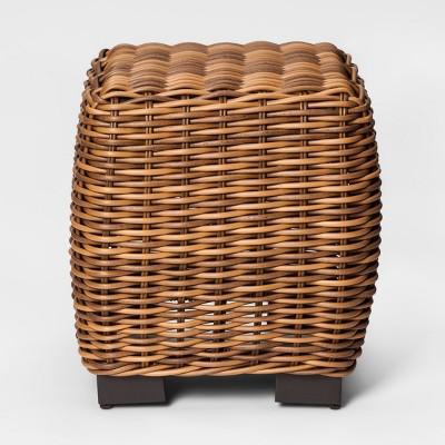 Eldridge Wicker Square Patio Side Table - Brown - Smith & Hawken™