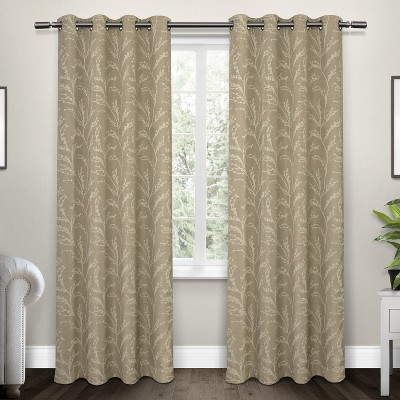"""Set of 2 84""""x52"""" Kilberry Woven Blackout Grommet Top Window Curtain Panel Natural - Exclusive Home"""