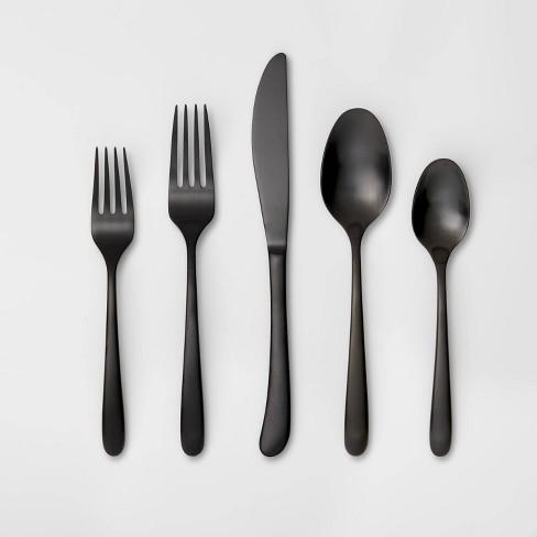 5pc Stainless Steel Kayden Silverware Set Matte Black - Threshold™ - image 1 of 4