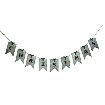 Transpac Metal 68 in. Silver Christmas Galvanized Banner