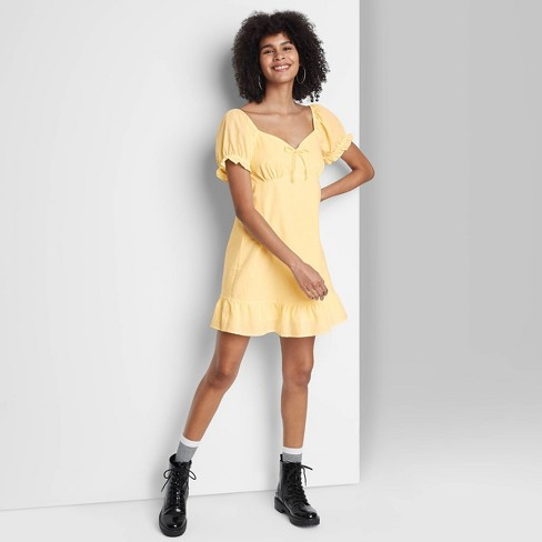 Women's Short Sleeve Sweetheart Ruffle with Tie-Back Dress - Wild Fable™ - image 1 of 3