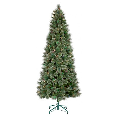 7.5ft Prelit Artificial Christmas Tree Slim Virginia Pine Multicolored Lights - Wondershop™