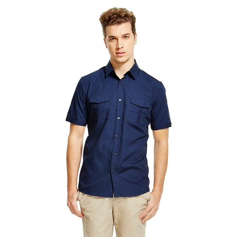 Men's Slim Fit Short Sleeve Shirt Navy - Mossimo S - image 1 of 2