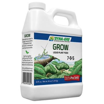 Dyna-Gro Grow 7-9-5 All Purpose Liquid Foliage Flower Plant and Vegetable Herb Food Concentrate with 16 Essential Plant Nutrients, 1 Gallon