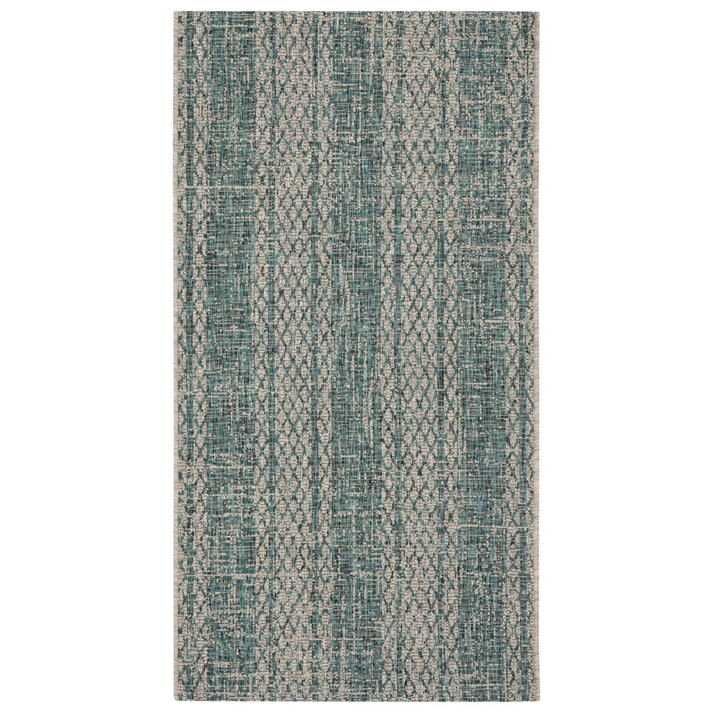 Low Price Grady 2 X 37 IndoorOutdoor Rug Light GrayTeal Light GrayBlue Safavieh